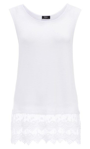 Lace Trim Sleeveless Jersey Top White