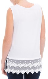Lace Trim Sleeveless Jersey Top White - Gallery Image 3