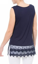 Lace Trim Sleeveless Jersey Top Navy - Gallery Image 3