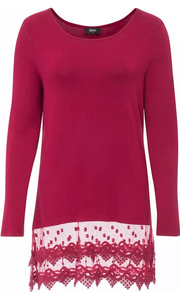 Longline Long Sleeve Lace Trim Jersey Top Red