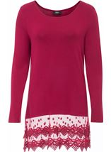 Longline Long Sleeve Lace Trim Jersey Top Red - Gallery Image 1