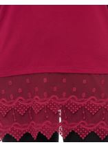 Longline Long Sleeve Lace Trim Jersey Top Red - Gallery Image 4