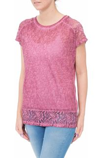 Short Sleeve Lace Trim Knit Top - Claret