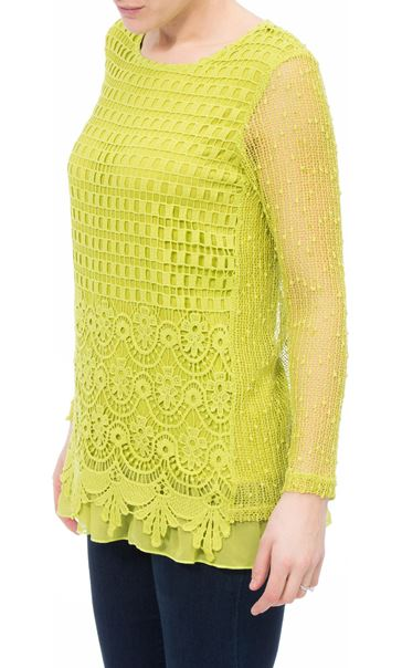 Long Sleeve Crochet Layered Top Lime - Gallery Image 2