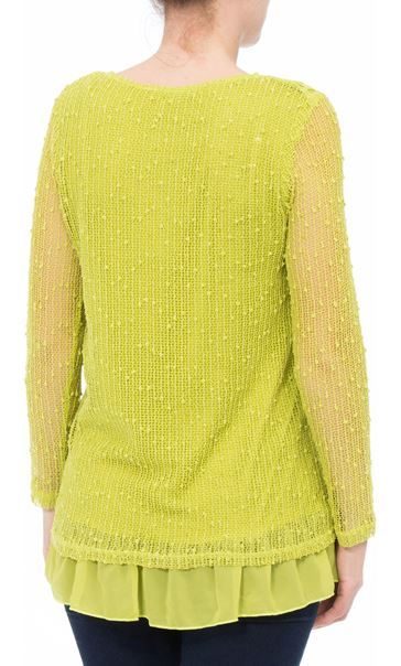 Long Sleeve Crochet Layered Top Lime - Gallery Image 3