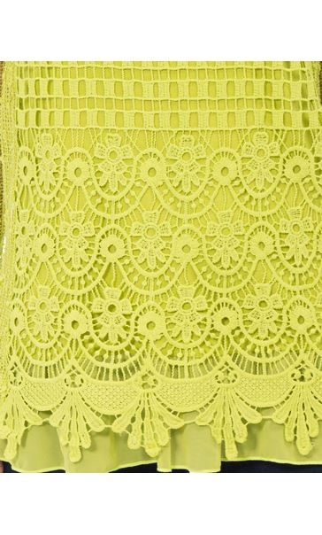 Long Sleeve Crochet Layered Top Lime - Gallery Image 4