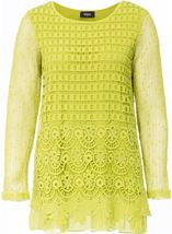 Long Sleeve Crochet Layered Top Lime - Gallery Image 1