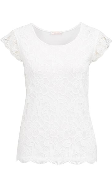 Anna Rose Crochet Lace Layer Top White