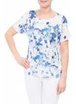 Anna Rose Short Sleeve Crochet Trim Top Ivory/Blue - Gallery Image 1