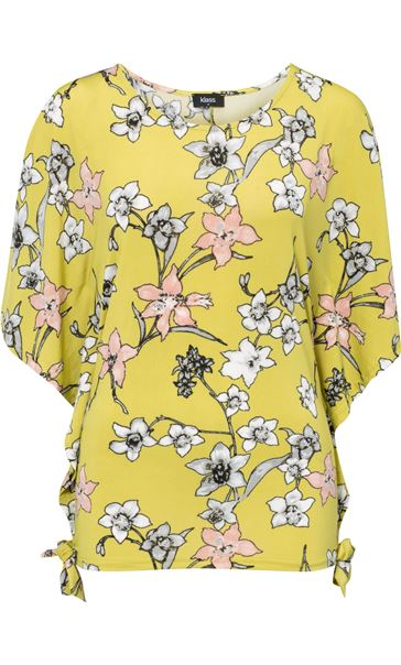 Short Sleeve Floral Printed Jersey Top Lime