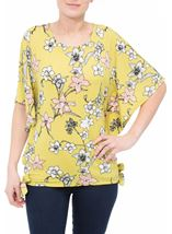 Short Sleeve Floral Printed Jersey Top Lime - Gallery Image 2