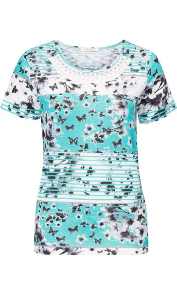 Anna Rose Embellished Butterfly Print Top Teal/White