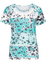Anna Rose Embellished Butterfly Print Top Teal/White - Gallery Image 1