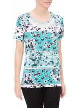 Anna Rose Embellished Butterfly Print Top Teal/White - Gallery Image 2