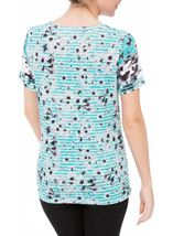 Anna Rose Embellished Butterfly Print Top Teal/White - Gallery Image 3