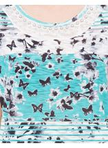 Anna Rose Embellished Butterfly Print Top Teal/White - Gallery Image 4