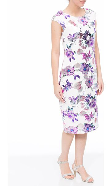 Floral Foil Printed Midi Scuba Dress Ivory/Pink