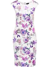 Floral Foil Printed Midi Scuba Dress Ivory/Pink - Gallery Image 3