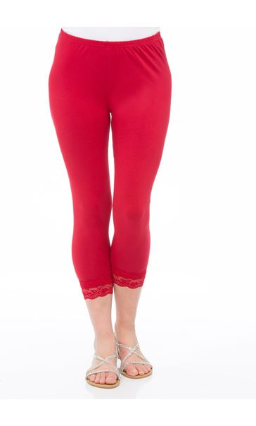 Cropped Lace Trim Leggings Red