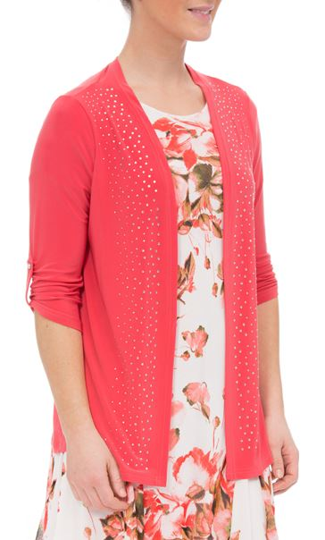 Anna Rose Diamante Jersey Cover Up Deep Coral