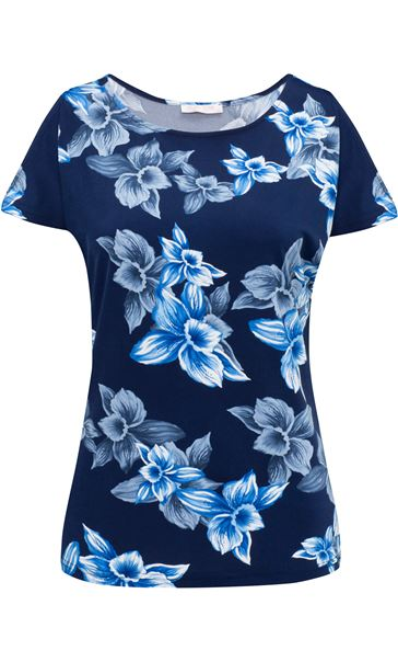 Anna Rose Cold Shoulder Printed Top Navy/Cobalt