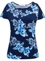 Anna Rose Cold Shoulder Printed Top Navy/Cobalt - Gallery Image 1