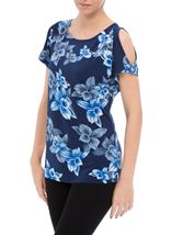 Anna Rose Cold Shoulder Printed Top Navy/Cobalt - Gallery Image 2