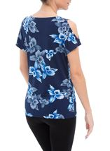 Anna Rose Cold Shoulder Printed Top Navy/Cobalt - Gallery Image 3