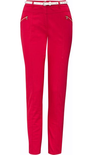 Belted Slimline Stretch Trousers Pepper
