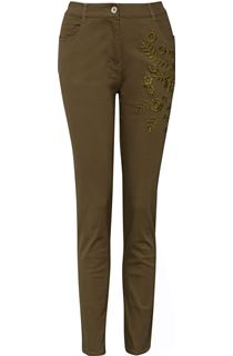 Slim Leg Embroidered Jeans