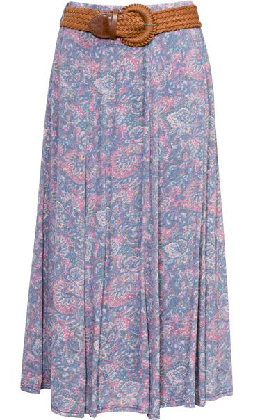 Printed Crinkle Maxi Skirt With Belt Blue/Pink