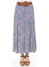 Printed Crinkle Maxi Skirt With Belt Blue/Pink - Gallery Image 2