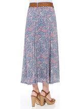 Printed Crinkle Maxi Skirt With Belt Blue/Pink - Gallery Image 3