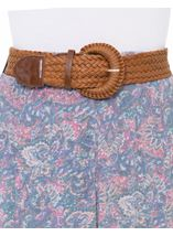 Printed Crinkle Maxi Skirt With Belt Blue/Pink - Gallery Image 4
