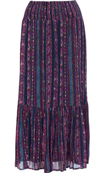Pull On Georgette Printed Maxi Skirt Hot Pink/Blue