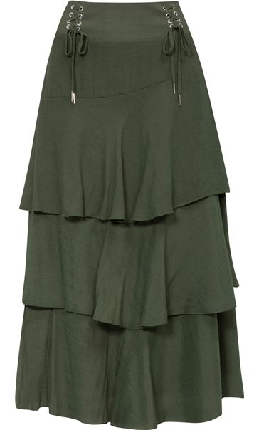 Layered Bias Cut Skirt Khaki