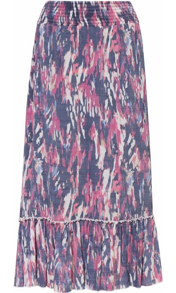 Pull On Printed Georgette Maxi Skirt Midnight/Claret