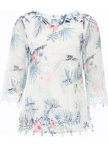 Anna Rose Printed Crochet Top Blue Floral - Gallery Image 1