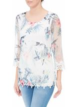 Anna Rose Printed Crochet Top Blue Floral - Gallery Image 2