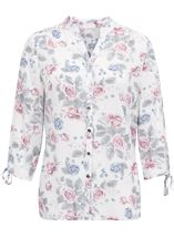 Anna Rose Tie Sleeve Floral Print Blouse Raspberry Floral - Gallery Image 1