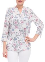 Anna Rose Tie Sleeve Floral Print Blouse Raspberry Floral - Gallery Image 2