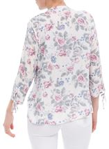 Anna Rose Tie Sleeve Floral Print Blouse Raspberry Floral - Gallery Image 3