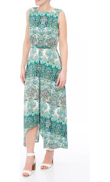 Printed Dip Hem Sleeveless Maxi Dress Green/Blue