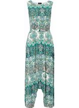 Printed Dip Hem Sleeveless Maxi Dress Green/Blue - Gallery Image 3