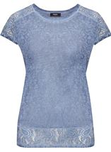 Short Sleeve Lace Trim Knit Top Dark Blue - Gallery Image 1