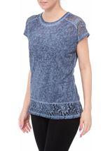Short Sleeve Lace Trim Knit Top Dark Blue - Gallery Image 2