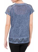 Short Sleeve Lace Trim Knit Top Dark Blue - Gallery Image 3