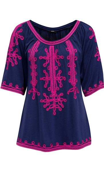 Wide Sleeve Tapework Top Blue/Hot Pink