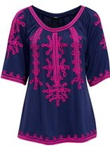 Wide Sleeve Tapework Top Blue/Hot Pink - Gallery Image 1