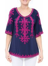 Wide Sleeve Tapework Top Blue/Hot Pink - Gallery Image 2